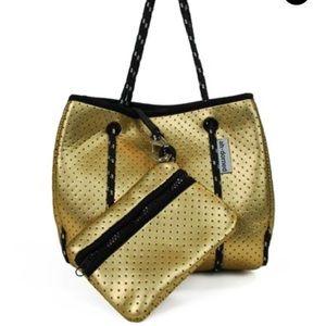 Handbags - Ah-Dorned Gold Neoprene Mini Tote